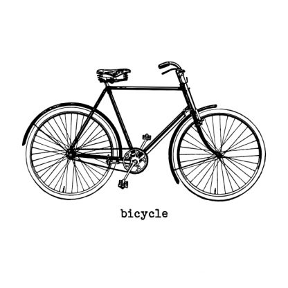 Bicycle (vintage) - black heat transfer on a white background