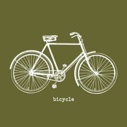 Bicycle (vintage) - white heat transfer on a green background