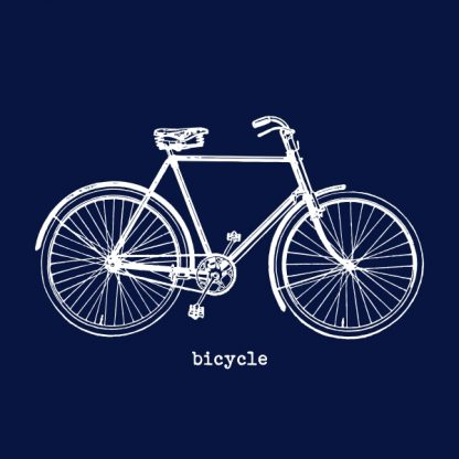 Bicycle (vintage) - white heat transfer on a navy background