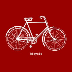 Bicycle (vintage) - white heat transfer on a red background
