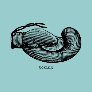 Boxing gloves - black heat transfer on a blue background