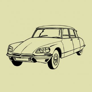 Citroen DS vintage car black heat transfer on a natural t-shirt