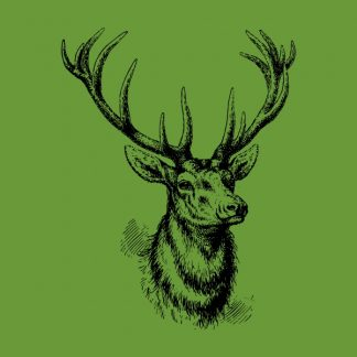Deer - black heat transfer on a green background