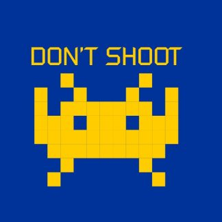 Don't shoot. - yellow heat transfer on a blue t-shirt