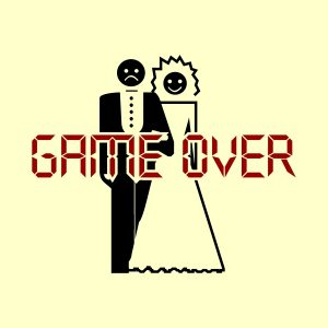 Game over. Marriage. - black and red heat transfer on a yellow background