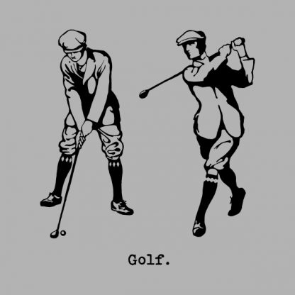 Golf player - black heat transfer on a grey background