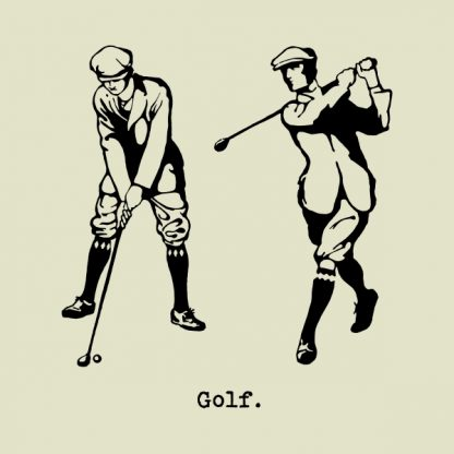 Golf player - black heat transfer on a natural background