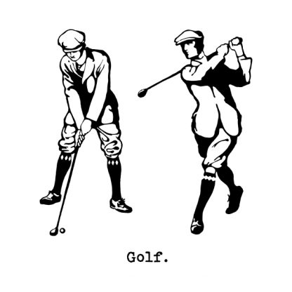 Golf player - black heat transfer on a white background