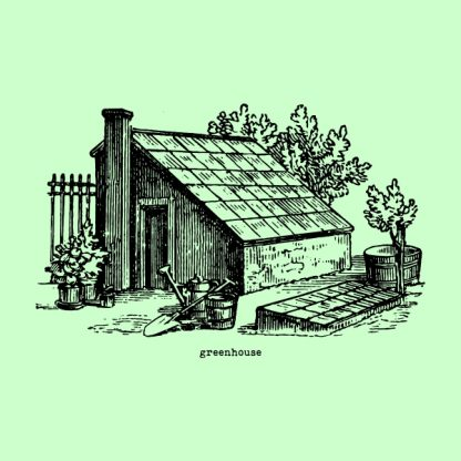 Greenhouse - Black heat transfer on a green background