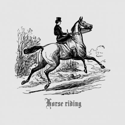 Horse riding - Black heat transfer on a grey background