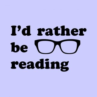 I'd rather be reading - black heat transfer on a blue background