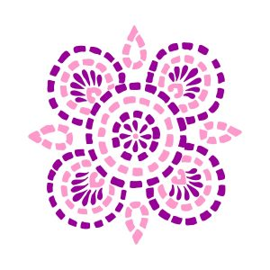 Mandala 1 - pink and violet heat transfer on a white t-shirt