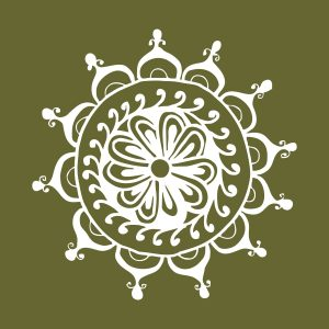 Mandala 2 - white heat transfer on a olive green background