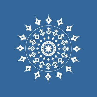 Mandala 3 (small) - white heat transfer on a denim background