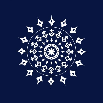 Mandala 3 (small) - white heat transfer on a navy background