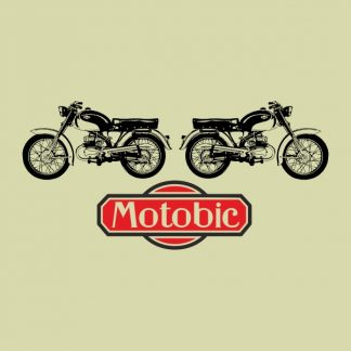 Motobic vintage motorbike - black and red heat transfer on a beige background