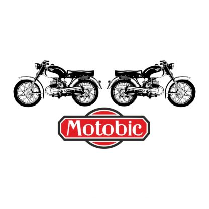Motobic vintage motorbike - black and red heat transfer on a white background