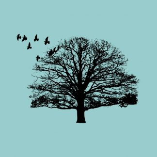 Nature. Tree and birds - Black heat transfer on a blue background