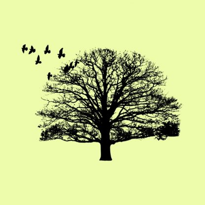 Nature. Tree and birds - Black heat transfer on a yellow background