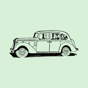 Old car of the 50's - black heat transfer on a green background