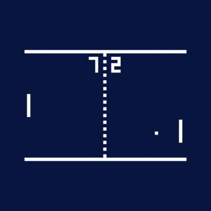 Pong Arcade Video Game - black het transfer on a navy background