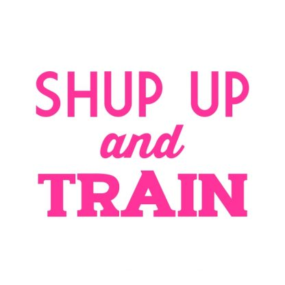 Shut up and train. - oink heat transfer on a white t-shirt