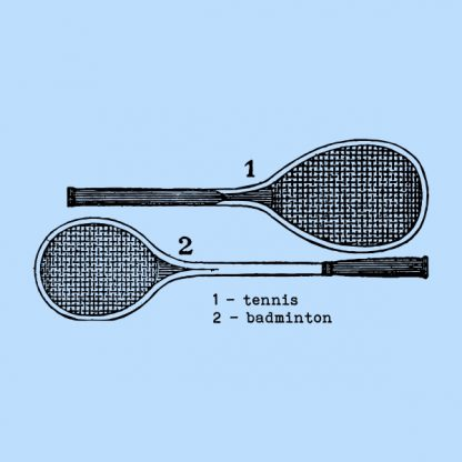 Tennis and badminton - black heat transfer on a blue background