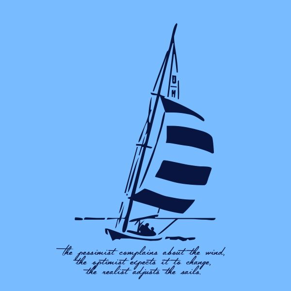 The pessimist complains about the wind - navy blue heat transfer on a blue background