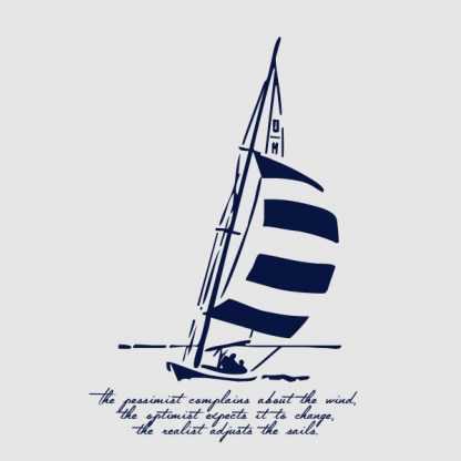 The pessimist complains about the wind - navy blue heat transfer on a grey background