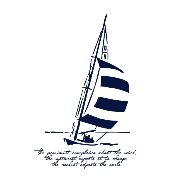 The pessimist complains about the wind - navy blue heat transfer on a white background