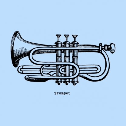 Trumpet - black heat transfer on a blue background
