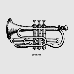 Trumpet - black heat transfer on a grey background