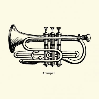 Trumpet - black heat transfer on a natural background