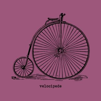 Velocipede - black heat transfer on a pink background