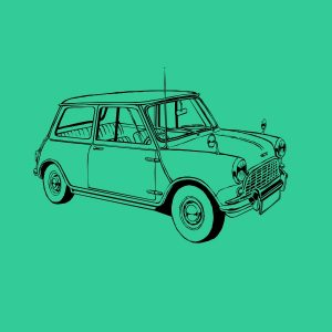 Vintage mini car black heat transfer on a mint t-shirt