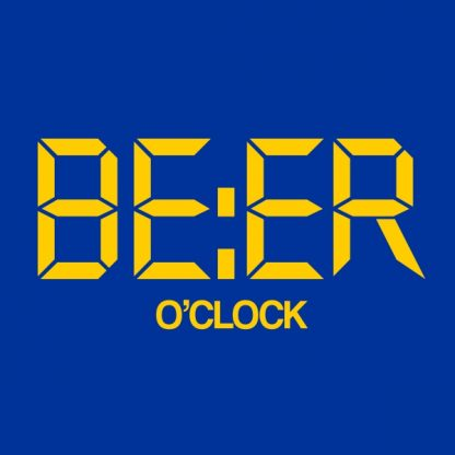 beer o'clock yellow heat transfer on a blue t-shirt