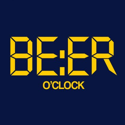 beer o'clock yellow heat transfer on a navy t-shirt