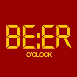 beer o'clock yellow heat transfer on a red t-shirt