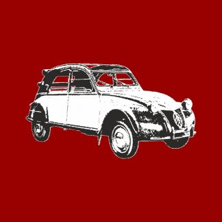 citroen 2cv vintage car - black and white heat transfer on a red background