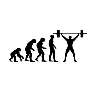 gym evolution black heat transfer on a white t-shirt