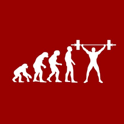 gym evolution white heat transfer on a red t-shirt