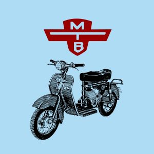 motobic vintage scooter black and red heat transfer on a blue t-shirt