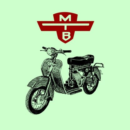 motobic vintage scooter black and red heat transfer on a green t-shirt