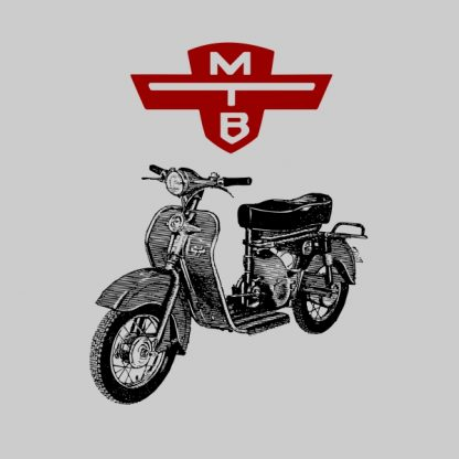 motobic vintage scooter black and red heat transfer on a grey t-shirt