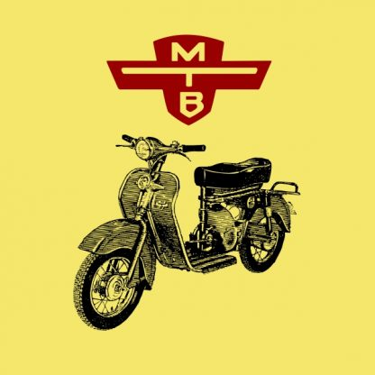 motobic vintage scooter black and red heat transfer on a yellow t-shirt