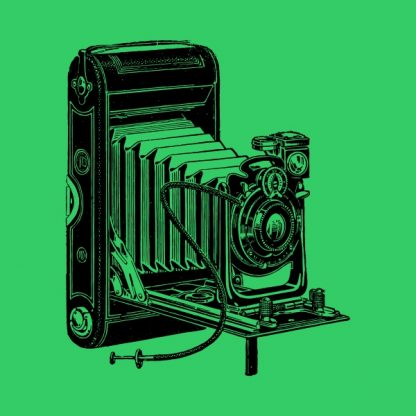 old camera - black heat transfer on a green background