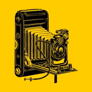 old camera - black heat transfer on a yellow background