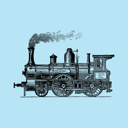 old train locomotive - black heat transfer on a blue background