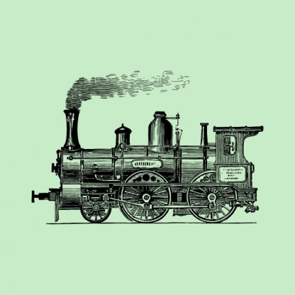 old train locomotive - black heat transfer on a green background