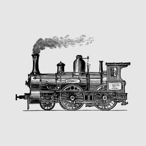 old train locomotive - black heat transfer on a grey background